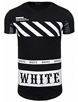 Men's Short Sleeve T-Shirt , Polyester Casual Print / Color Block