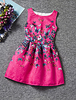 Girl's Blue / Pink / White Dress,Floral Polyester Summer / Spring