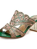 Women's Shoes Heel Heels / Peep Toe Sandals / Heels / Clogs & Mules Outdoor / Dress / Casual Green / Gold