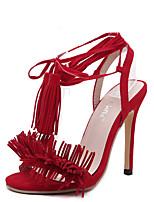 Women's Shoes Synthetic / Fleece Stiletto Heel Heels Sandals Wedding / Party & Evening / Dress Black / Red