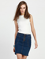 Women's Solid Blue Skirts,Street chic Above Knee