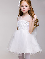 A-line Short/Mini Flower Girl Dress - Tulle Sleeveless