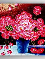 oliemaleri røde blomster i vasen med kniv hånd malede med strakt indrammet