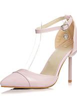 Chaussures Femme-Bureau & Travail / Habillé / Décontracté-Noir / Rose-Talon Aiguille-Talons-Sandales-Similicuir