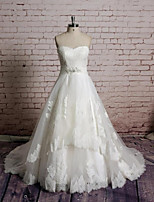 A-line Wedding Dress - White Chapel Train Sweetheart Lace / Tulle