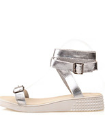 Women's Shoes Pigskin Flat Heel Comfort / Novelty Sandals Dress / Casual Black / White / Silver