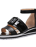 Women's Shoes Cowhide Wedge Heel Wedges / Gladiator / Open Toe Sandals Casual Black / Yellow / White