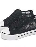 Women's Shoes Fabric Flat Heel Round Toe Fashion Sneakers Casual Black / White