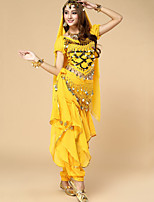 Belly Dance Outfits Women's Performance Chiffon Sequins 3 Pieces Blue / Fuchsia / Purple / Red / Yellow