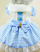 Cat / Dog Dress Red / Blue / Pink Spring/Fall Bowknot / Plaid/Check Fashion