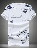 Men's Casual Slim Pattern Printed T-Shirt,Cotton / Polyester Casual / Plus Sizes Print