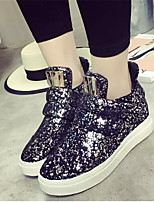 Women's Shoes Leatherette Wedge Heel Wedges Fashion Sneakers Outdoor / Casual Black / Silver