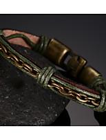 Leather Woven Titanium Steel Buckle Men Anchor Bracelet