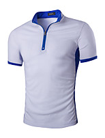 Men's Fashion Color Block Zipper Stand Collar Slim Fit Short-Sleeve Polos, Cotton/Polyester