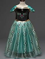 Girl's Green Dress,Jacquard Polyester Summer