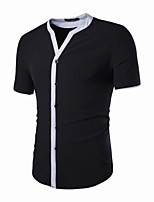 Men's Short Sleeve T-Shirt,Cotton / Polyester Casual Color Block