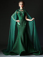 Formal Evening Dress - Dark Green Trumpet/Mermaid Jewel Court Train Tulle / Polyester