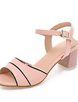 Women's Shoes Chunky Heel Peep Toe Sandals Office & Career / Dress / Casual Blue / Pink / White / Beige