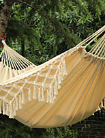 SWIFT Outdoor® 100% Cotton Thickening Canvas outdoor 2 Person Portable Tassel Hammock White Fringe Camping Hammock