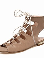 Women's Shoes Suede Flat Heel Peep Toe / Slingback / Comfort / Ankle Strap Sandals / Boots Outdoor / Office & Career
