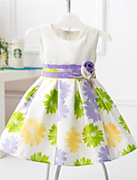 Girl's Pink / Purple Dress , Floral Cotton / Polyester All Seasons