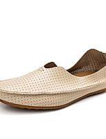 Men's Loafers & Slip-Ons Moccasin Light Soles Spring Summer Leatherette Casual Office & Career Flat Heel Red Dark Blue Beige White Flat