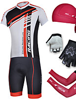 CHEJI Men's Bike Cycling Jersey Short Sleeve Suit & Pirate Hat + Gloves + Sleeves