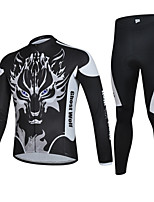CHEJI Men Cycling Bike Long Sleeve Clothing Bicycle Suit Jersey + Trousers