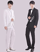 Suits Tailored Fit Notch Single Breasted One-button Polyester Patterns 4 Pieces Black / White