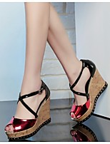 Women's Shoes Leather Wedge Heel Wedges / Heels / Peep Toe Sandals Office & Career / Work & Duty / Party & Evening