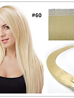Tape In Human Hair Extension #60 Platium blonde color 20pcs Remy  Brazilian Virgin Straight Skin Weft Hair Extensions