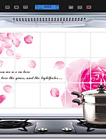 Removable Kitchen Oilproof Wall Stickers with Red Rose Style Water Resistant Home Art Decals