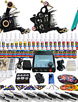 Solong Tattoo Complete Tattoo Kit 2 Pro Machine Guns 40 Inks Power Supply Foot Pedal Needles Grips Tips TK229