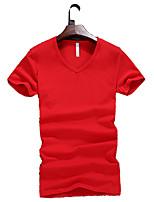 Katoen - Effen - Heren - T-shirt - Informeel / Grote maten - Korte mouw