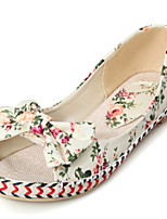 Women's Shoes Fabric Flat Heel Comfort / Open Toe Flats Casual Blue / Green / Pink / Beige