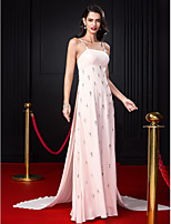 TS Couture® Formal Evening Dress-Pearl Pink A-line Spaghetti Straps Court Train Chiffon