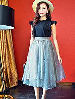 Women's Solid Pink / White / Black / Gray Skirts , Casual / Day / Simple Midi