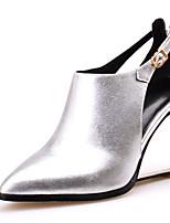 Scarpe Donna-Scarpe col tacco-Tempo libero / Formale / Serata e festa-Zeppe / Tacchi / A punta-Zeppa-Di pelle / Pelle-Viola / Argento /