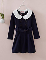 Girl's Blue Dress,Solid Cotton Spring / Fall