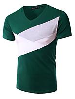 Men's Short Sleeve T-Shirt,Polyester Casual / Work / Sport Pure