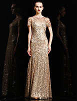 Formal Evening Dress - Gold Trumpet/Mermaid Jewel Floor-length Charmeuse / Sequined