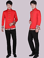 Suits Tailored Fit Notch Single Breasted More-Button Polyester Patterns 1 Piece Red