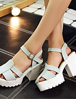Women's Shoes Leatherette Chunky Heel Heels / Platform Sandals Office & Career / Dress / Casual Blue / Pink / White