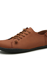 Men's Oxfords Comfort Leather Spring Fall Casual Office & Career Lace-up Flat Heel Blue Brown Black Flat
