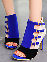 Women's Shoes Velvet Stiletto Heel Heels / Peep Toe Sandals Office & Career / Dress / Casual Black / Blue / Red