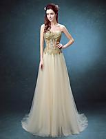 저녁 정장파티 드레스-루비 / 샴페인 볼 드레스 바닥 길이 끈없는 스타일 레이스 / 튤