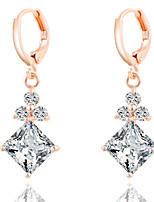 Luxury Popular  Diamond Shape Transparent Zircon Earrings