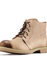 Women's Shoes Nappa Leather Flat Heel Combat Boots Boots Outdoor Red / Khaki