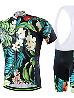 CHEJI Men Colorful Flowers Breathable Cycling Jersey Shirt Bib Short Sleeve Set