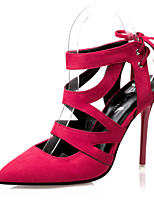 Women's Shoes Suede Stiletto Heel Heels / Gladiator / Pointed Toe / Closed Toe Sandals Dress Black / Red / Gray / Almond